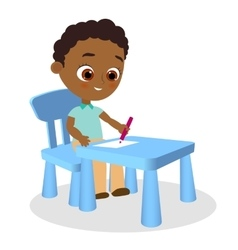 Young african american boy paints sitting at a vector image