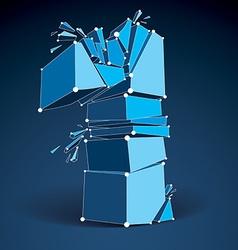 Dimensional wireframe number 1 blue demolished vector