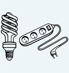 Energy saving light bulb and power surge vector image