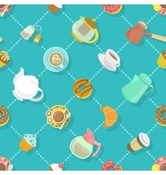 Flat City Cafe Seamless Pattern vector image