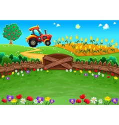Funny landscape with tractor and cornfield vector image
