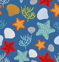Marine seamless pattern Starfish scallop and vector image