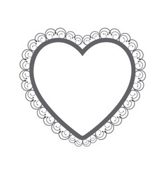 monochrome silhouette heart with decorative frame vector image vector image