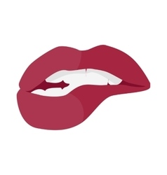 Open Mouth with Red Lips Biting Smile with Tooth vector image