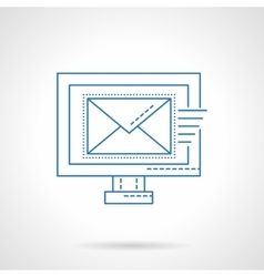 E-mail blue flat line icon vector image