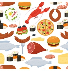 Food seamless pattern in flat style vector image