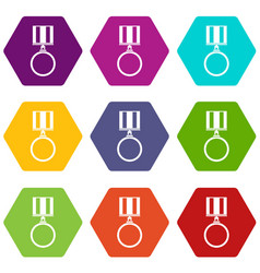 medal for services icon set color hexahedron vector image vector image