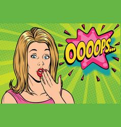 oops pop art kitsch woman vector image