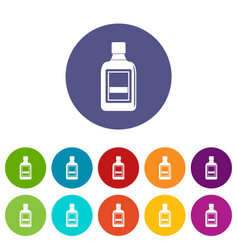 plastic bottle icons set flat vector image vector image