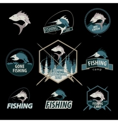 Set of fishing logos emblems badges vector image
