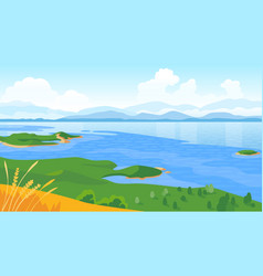 summer landscape with sea and mountains vector image vector image