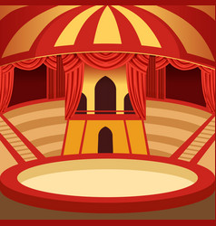 Circus arena cartoon design classic stage with vector