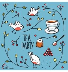 Garden Tea Party with Birds Twigs and Berries vector image vector image