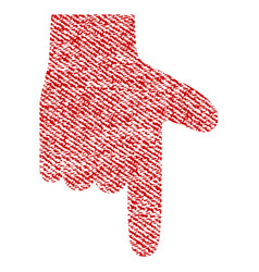 Hand pointer down fabric textured icon vector
