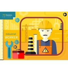 Industrial worker in workwear and helmet vector image vector image