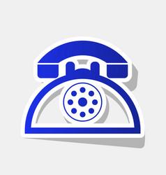 retro telephone sign new year bluish icon vector image
