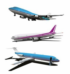 Set of Art Commercial Plane vector image vector image