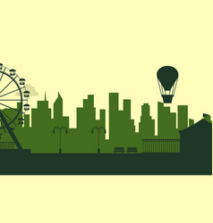 silhouette of amusement park with city background vector image