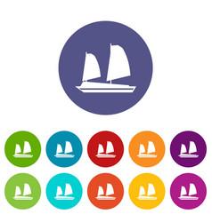 vietnamese junk boat set icons vector image