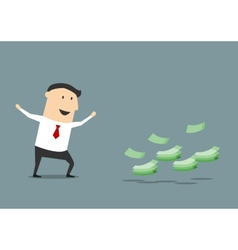 Happy cartoon businessman found money vector image