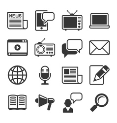 Media News Icon Set on White Background vector image