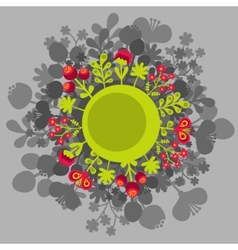 Round banner with flowers vector image