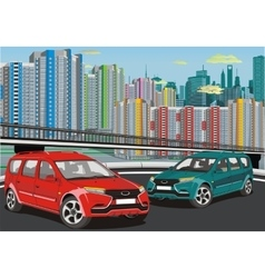 Urban landscape - the modern car on the background vector image
