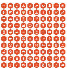 100 eco care icons hexagon orange vector