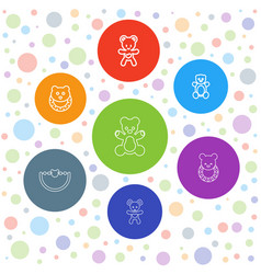 7 teddy icons vector image