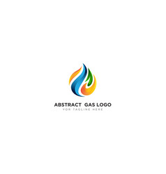 Abstract gas logo design with leaf and flame vector