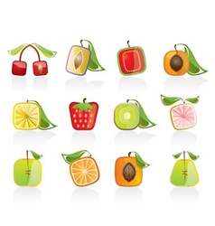 abstract square fruit icons vector image