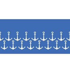 Anchors blue and white horizontal border seamless vector image