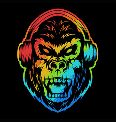 angry gorilla headphone colorful vector image