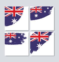 australian flag in brush strokes set of frames vector image