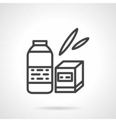 Baby food black line icon vector image
