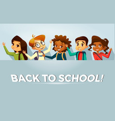 Back to school kids poster template vector