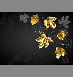 Background with gold leaves vector