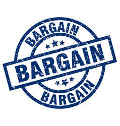 Bargain blue round grunge stamp vector