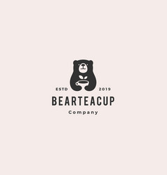 bear tea cup logo hipster vintage retro icon vector image