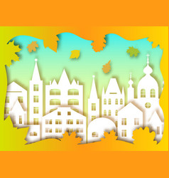 big city and autumn leaves vector image