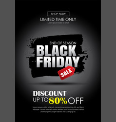 black friday sale banner with white text on vector image