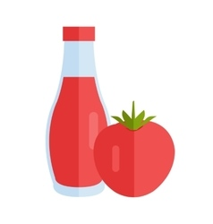 Bottle with Sauce Flat Design vector