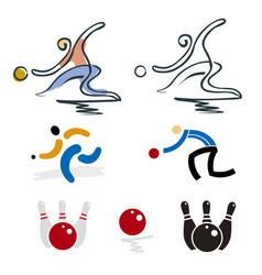 bowling and petanque player icons vector image