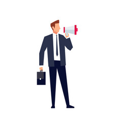 businessman with loudspeaker vector image