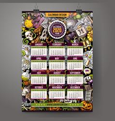 Cartoon doodles halloween 2020 year calendar vector