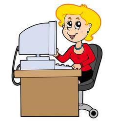 cartoon secretary vector image
