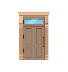 Classic wooden front door to house closed elegant vector