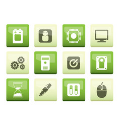 Computer and mobile phone elements icons vector