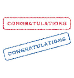 Congratulations textile stamps vector