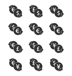 currency exchange icon set dollar euro yen and vector image